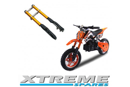 MINI DIRT BIKE COMPLETE ORANGE FRONT FORKS SHOCKERS DAMPER WITH YOKES SHOCK