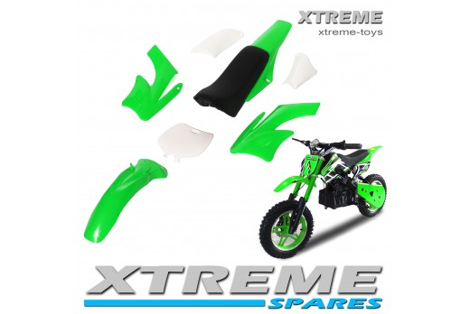 MINI NITRO DIRT BIKE / MOTOR BIKE COMPLETE GREEN PLASTICS KIT