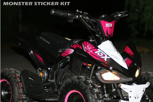 MINI QUAD BIKE STICKER KIT / DECALS / TRANSFERS / RED / GREEN / ORANGE / PINK ATV