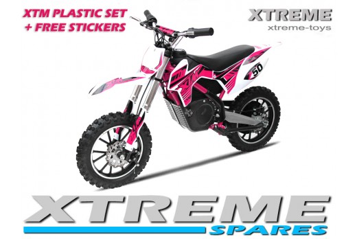 MINI DIRT MOTOR BIKE XTREME XTM FULL PLASTICS KIT + FREE PINK STICKERS KIT SET