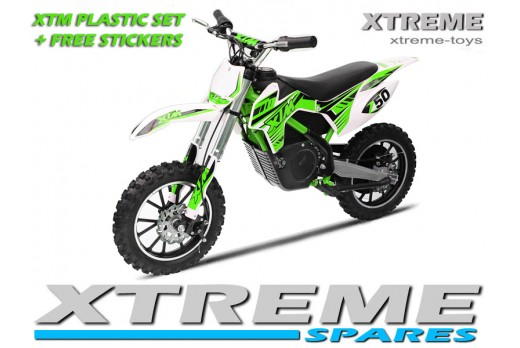 MINI DIRT MOTOR BIKE XTREME XTM FULL PLASTICS KIT + FREE GREEN STICKERS KIT SET