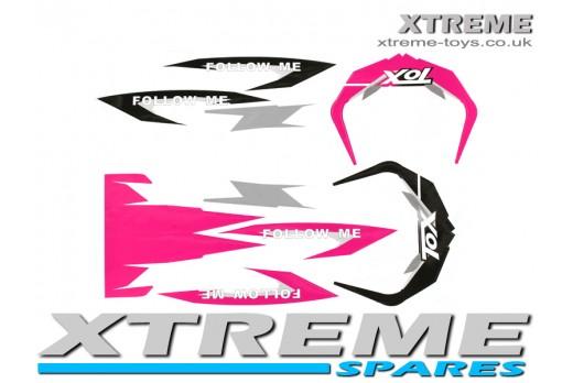 MINI DIRT BIKE CRX 50 TOX FOLLOW ME STICKER KIT / DECALS IN PINK/ BLACK