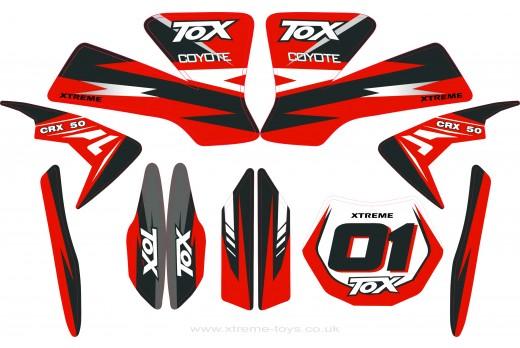 MINI DIRT BIKE CRX 50 TOX STICKER KIT / DECALS / TRANSFERS IN RED