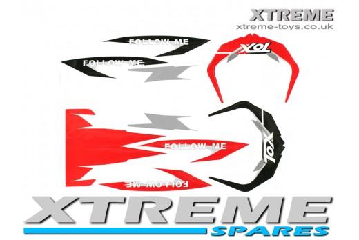 MINI DIRT BIKE CRX 50 TOX FOLLOW ME STICKER KIT / DECALS IN RED/ BLACK