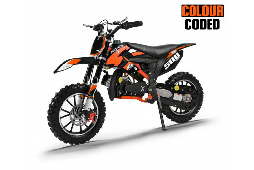 XTM PRO-RIDER 50cc DIRT BIKE COLOUR-CODED BLACK ORANGE