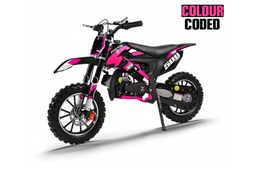 XTM PRO-RIDER 50cc DIRT BIKE COLOUR-CODED BLACK PINK