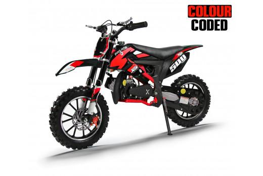 XTM PRO-RIDER 50cc DIRT BIKE COLOUR-CODED BLACK RED