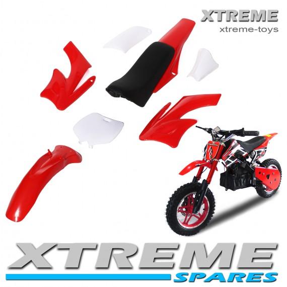 MINI NITRO DIRT BIKE / MOTOR BIKE COMPLETE RED PLASTICS KIT