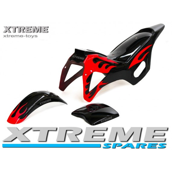 MINI DIRT BIKE BLACK / RED PLASTICS FAIRING + MUDGUARD KIT