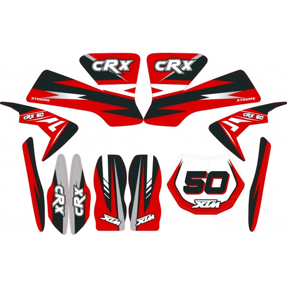 MINI DIRT BIKE XTM CRX 50 STICKER KIT / DECALS / TRANSFERS IN RED