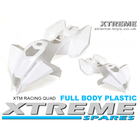 XTM RACING QUAD COMPLETE FULL BODY PLASTIC KIT WHITE