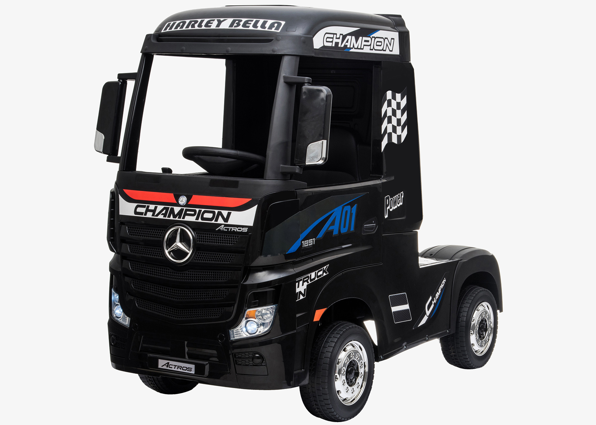 Xtreme 24V 4WD Licensed Mercedes Benz Ride on Electric Lorry Truck Painted Black