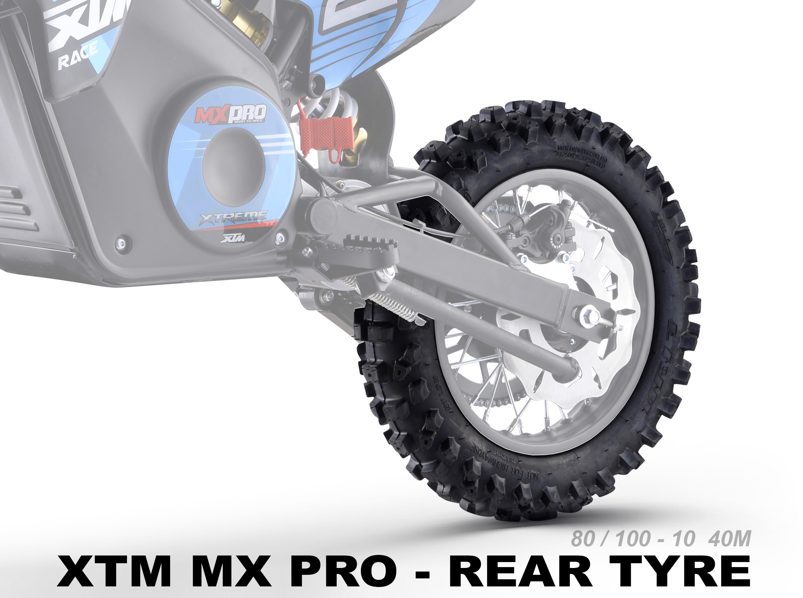 XTREME ELECTRIC XTM MX-PRO 36V REPLACEMENT REAR TYRE 80/100-10 40M