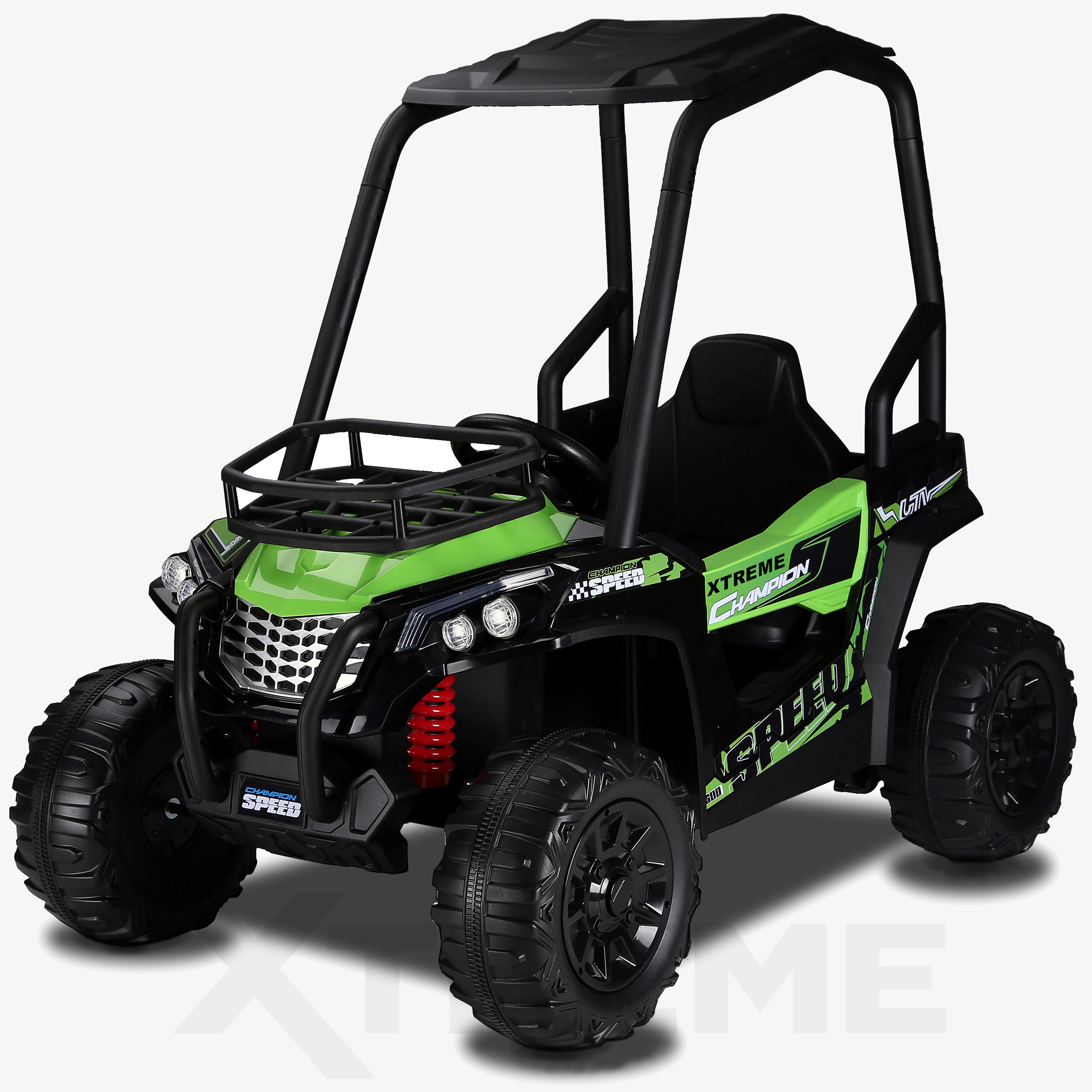 Xtreme BIG 12v Ride on Buggy Off Road UTV Jeep With Roll Cage Green