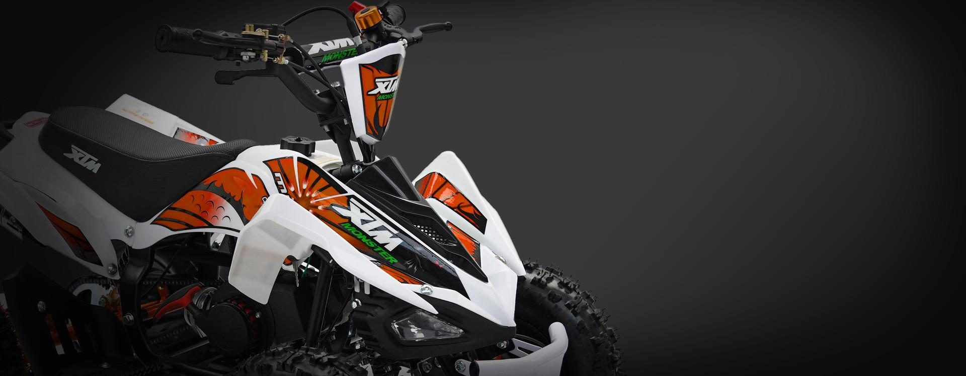 XTM MONSTER 50cc QUAD BIKE WHITE ORANGE